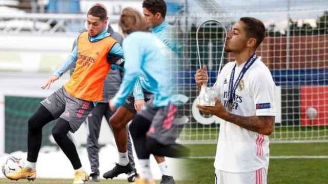 Óscar Aranda, durante un entrenamiento con el primer equipo del Real Madrid y con la Youth League, en un fotomontaje