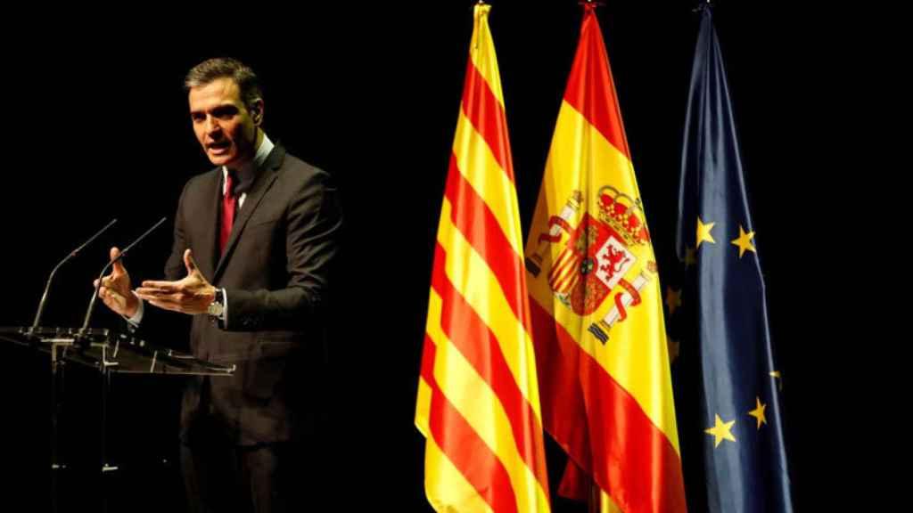 Pedro Sánchez durante el acto en el Liceu de Barcelona.