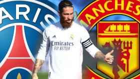Sergio Ramos y los escudos del PSG y del Manchester United, en un fotomontaje