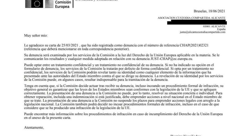 Extracto de la respuesta de la Comisión Europea.