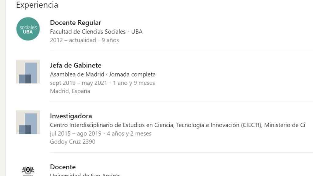 El perfil de Gabriela Porta publicado en la red Linkedin.