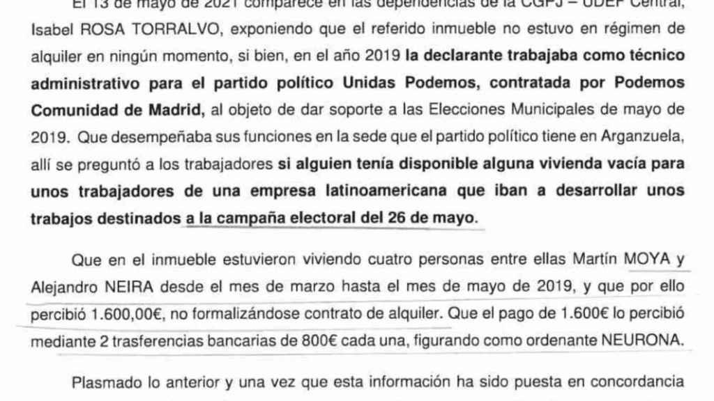 Fragmento de la declaración ante la UDEF de la empleada de Podemos que alquiló el piso de sus padres a cuatro trabajadores de Neurona.