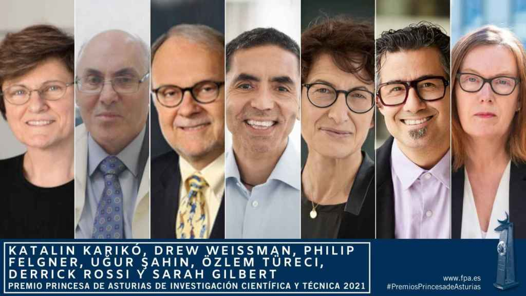 Los ganadores del Premio Princesa de Asturias de Investigación 2021. Katalin Karikó, Drew Weissman, Philip Felgner, Uğur Şahin, Özlem Türeci, Derrick Rossi y Sarah Gilbert