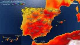 Temperaturas máximas previstas para el domingo. Eltiempo.es.