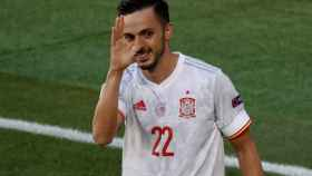 Pablo Sarabia celebra su gol a Eslovaquia