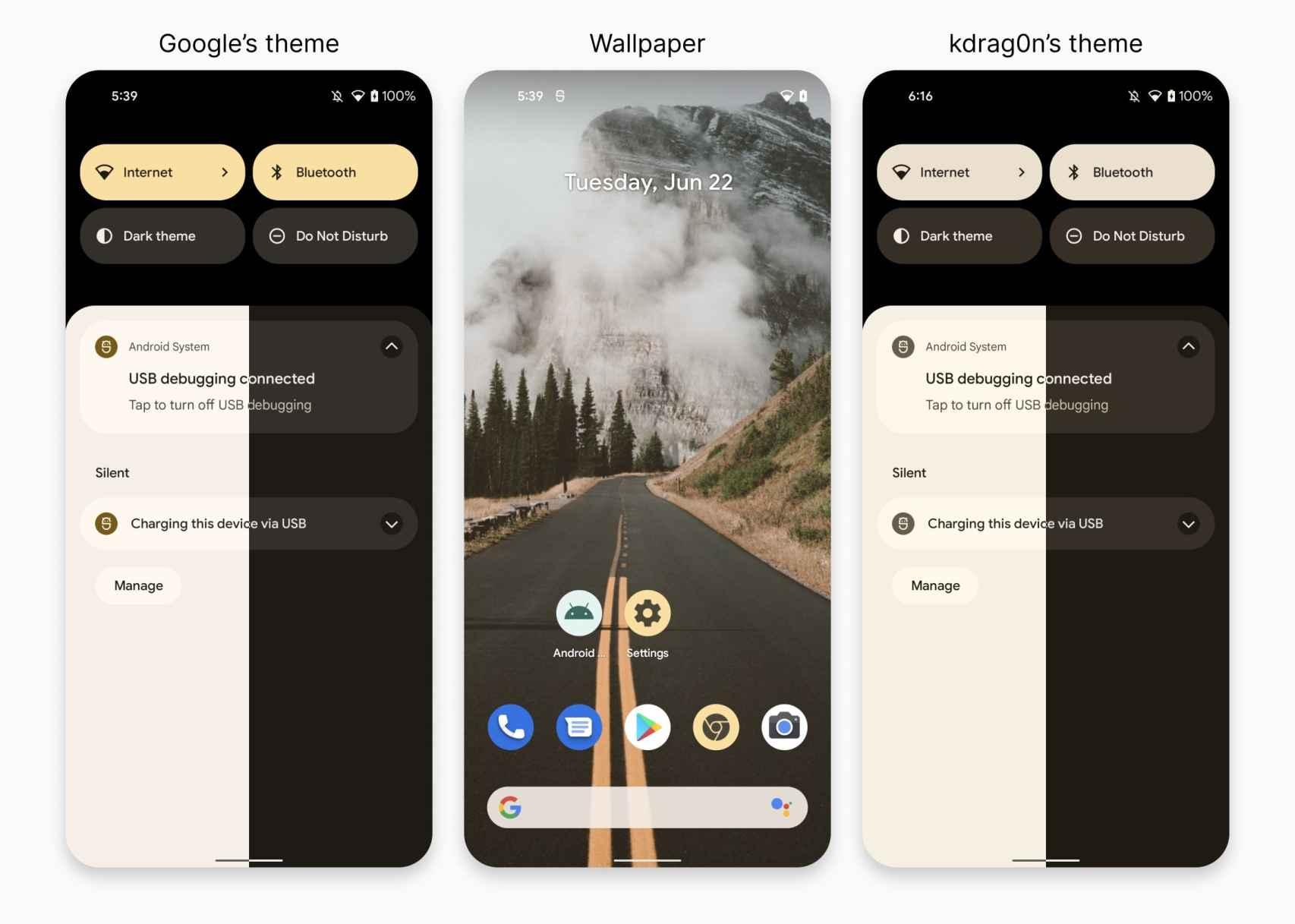 Colores según Google (izquierda) / Colores segun kdrag0n (derecha)
