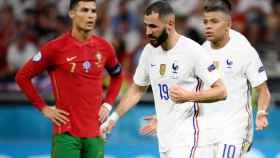 Benzema, Mbappé y Cristiano Ronaldo, en el Portugal - Francia de la Eurocopa 2020