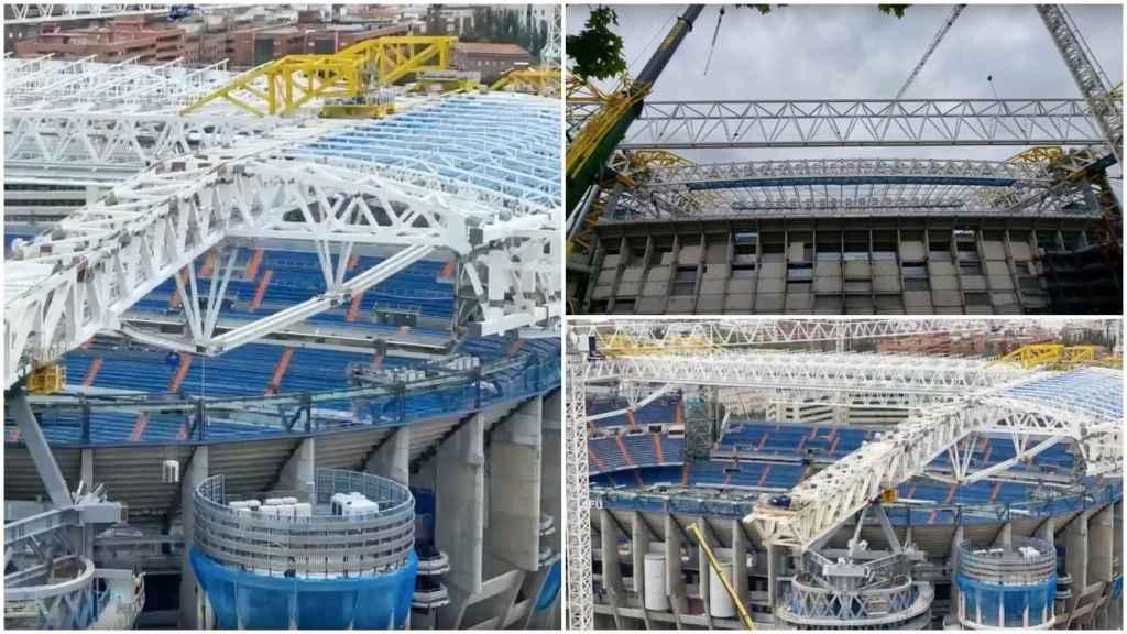 Obras Santiago Bernabéu: el brutal vídeo del desplazamiento final de la cubierta este