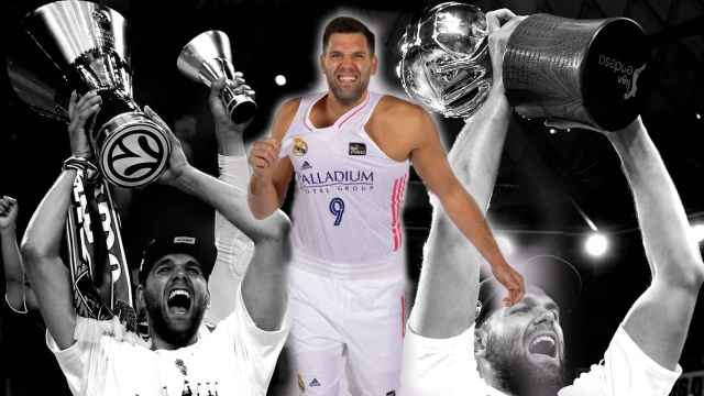 Felipe Reyes, levantando una Euroliga y una Liga Endesa, en un fotomontaje