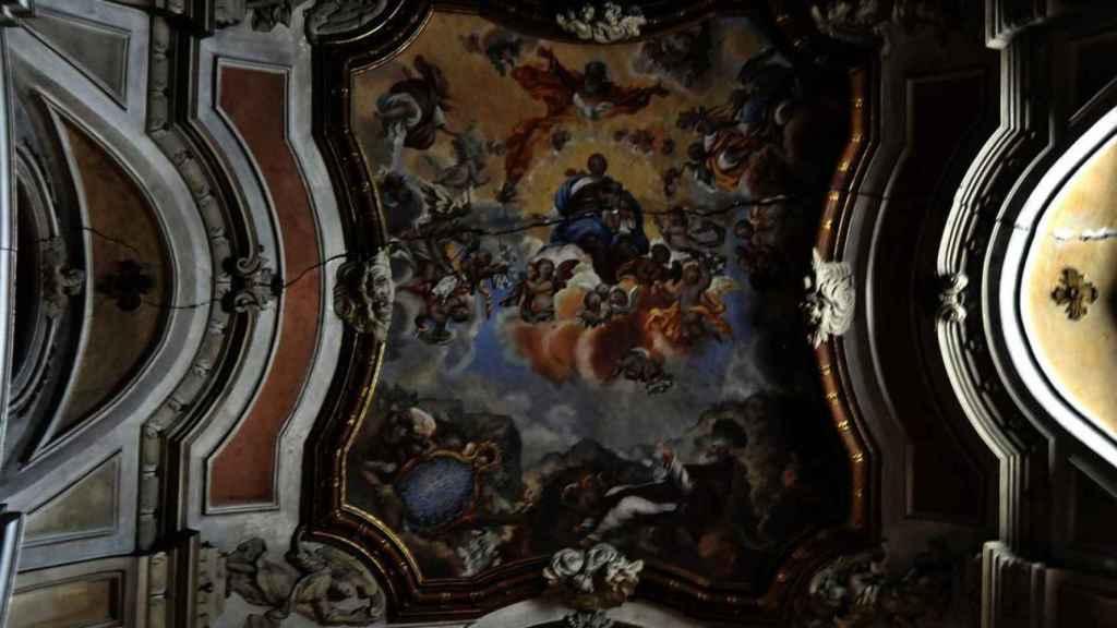 Una de las pinturas de la iglesia de la Virgen de la Luz, en Cuenca