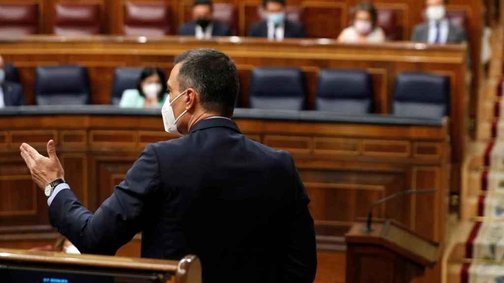 Pedro Sánchez, de espaldas, ante Pablo Casado, durante la sesión de control al Gobierno en el Congreso.