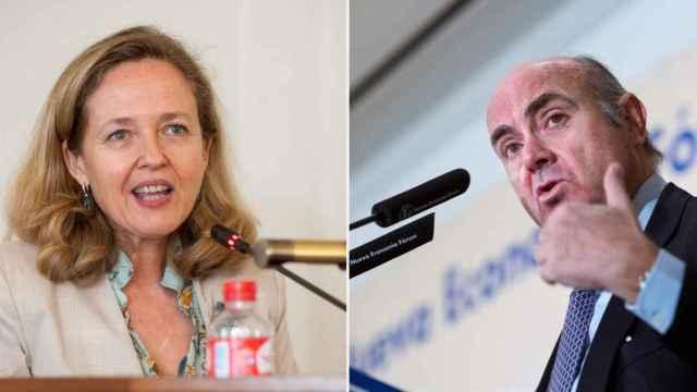 Nadia Calviño, vicepresidenta económica del Gobierno, y Luis de Guindos, vicepresidente del BCE.