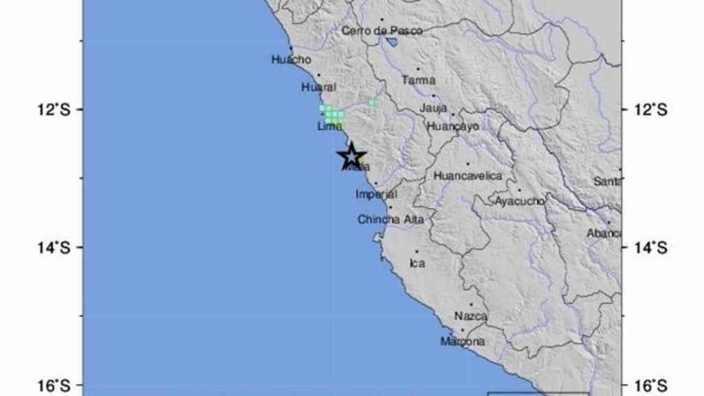 Terremoto en la costa central de Perú en una imagen del Servicio Geológico de Estados Unidos.