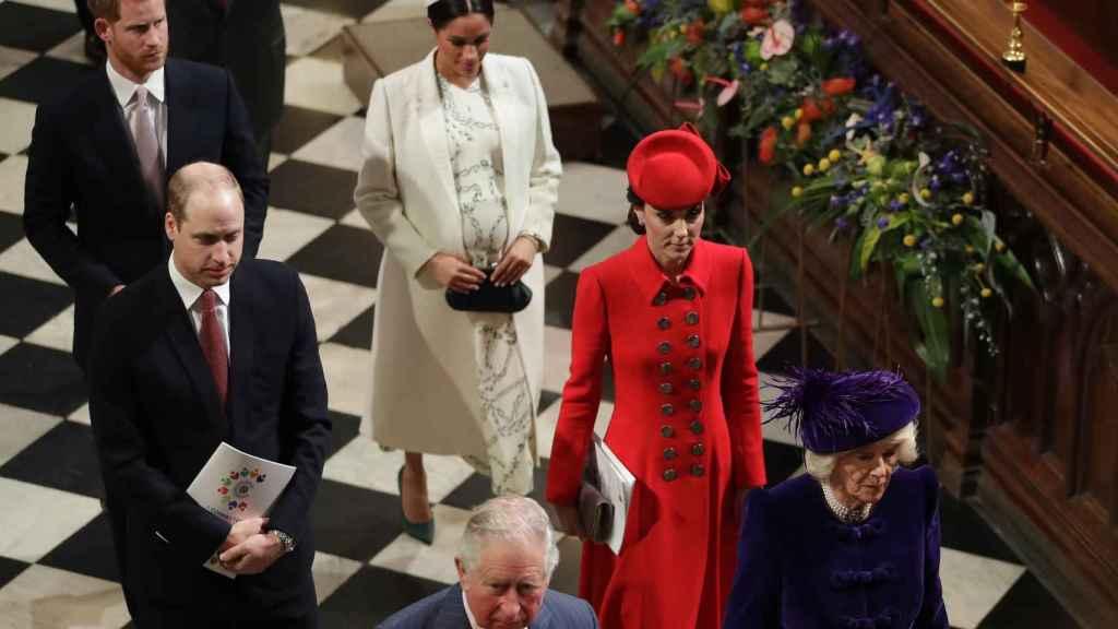 La pareja, en la celebración del día de la Commonwealth, en 2019, junto a los duques de Cambridge.
