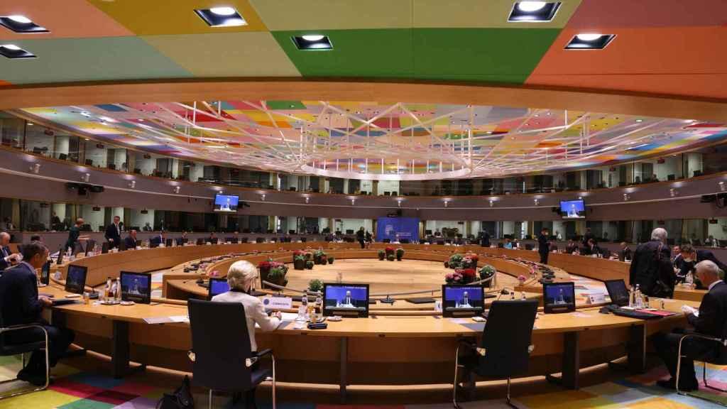 La sala de reuniones de los líderes de la UE, este jueves al inicio del Consejo Europeo
