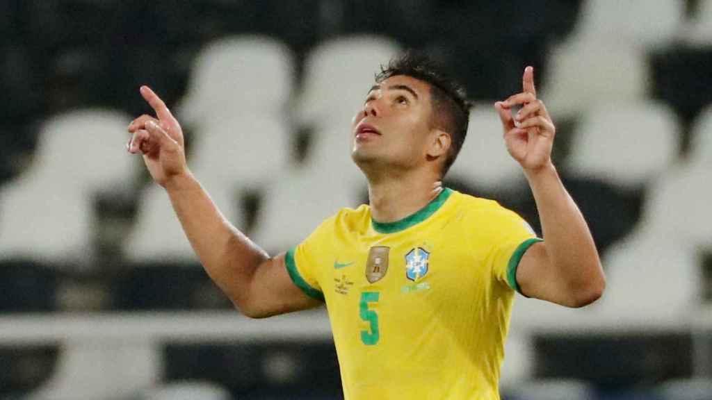 Casemiro celebra su gol con Brasil ante Colombia en la Copa América