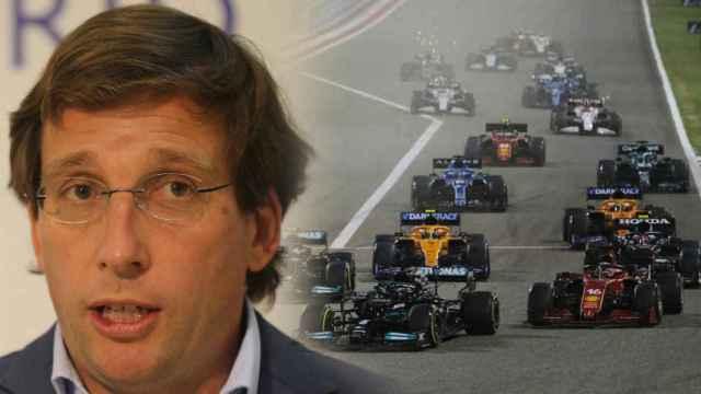 Jose Luis Martínez Almeida y la salida de un Gran Premio de Fórmula 1, en un fotomontaje