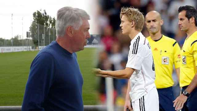 Carlo Ancelotti y Martin Odegaard, en un fotomontaje