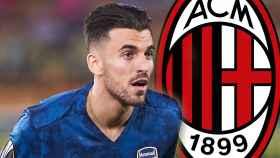 Dani Ceballos y el escudo del AC Milan, en un fotomontaje