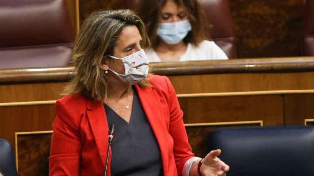 La ministra Teresa Ribera con mascarilla de Alimentos de Castilla-La Mancha