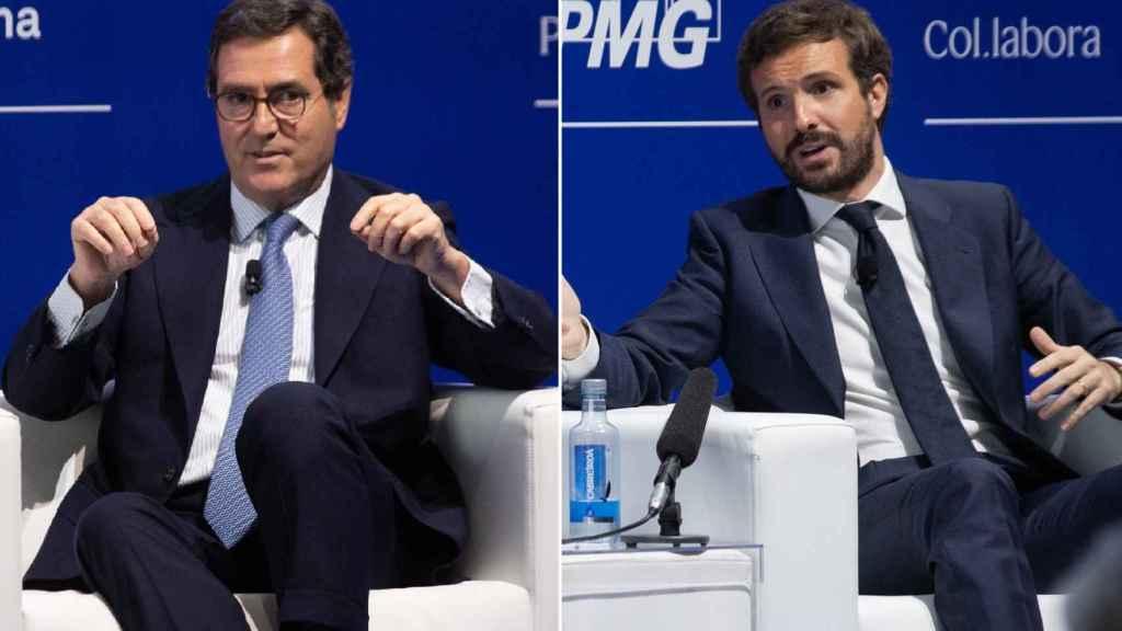 Antonio Garamendi y Pablo Casado en el Cercle d'Economia.