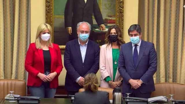 Ana Prieto (PSOE), Guillermo Antonio Meijón (PSOE), Rosa Moreno (PP) y José Ignacio Echániz (PP).