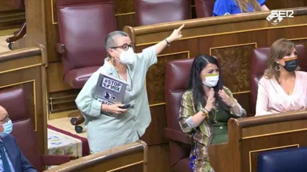 Momento en el que María Dantas llamaba fascista a Macarena Olona