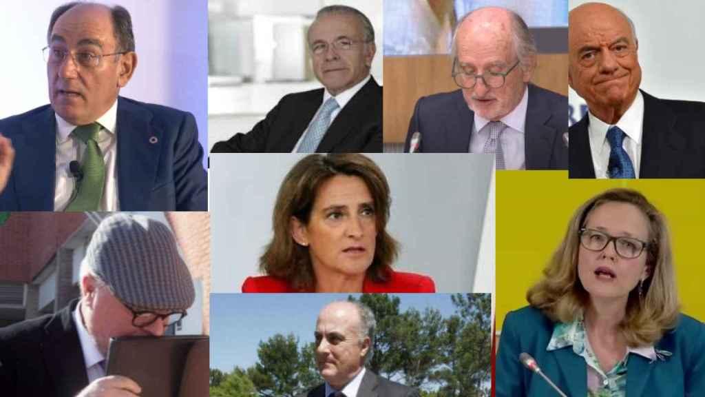 I. Galán, I. Fainé, A. Brufau, F. González, J. M. Villarejo, T. Ribera, N. Calviño y M. García-Castellón.