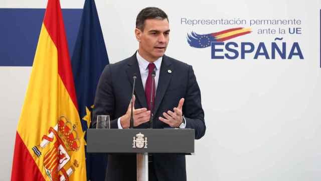 Pedro Sánchez, durante la rueda de prensa posterior al Consejo Europeo, en Bruselas.