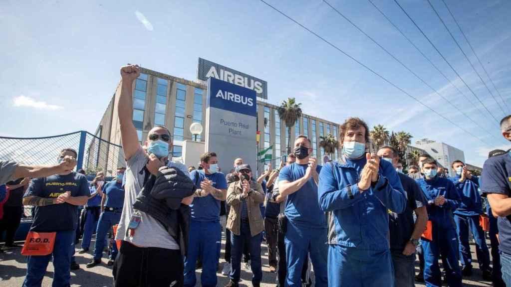 Imagen de archivo de una protesta de los trabajadores de Airbus en Puerto Real (Cádiz).