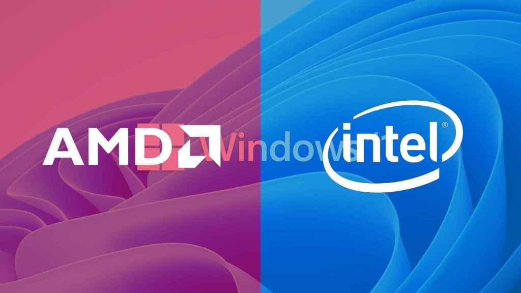 Fondo de pantalla de Windows 11 con los logos de AMD e Intel.