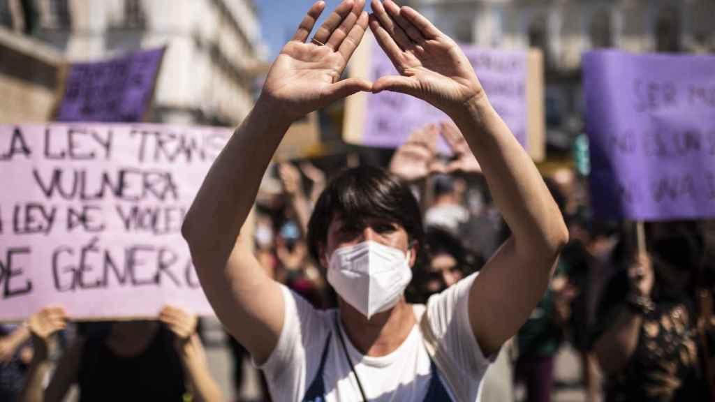 Manifestación convocada por Movimiento Feminista contra la Ley Trans.