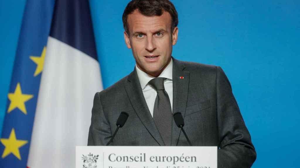 El presidente de Francia, Emmanuel Macron, en la cumbre europea.
