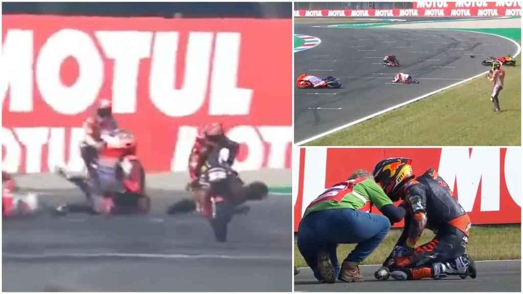 Brutal susto en Moto3: Rossi pasa por encima a Pedro Acosta