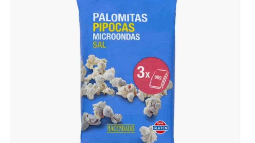 El paquete de palomitas de Hacendado.