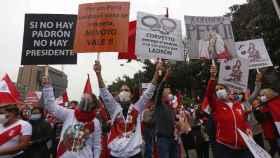 Manifestación en apoyo a Keiko Fujimori, Lima, Perú.