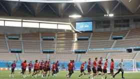 El estadio de La Cartuja durante el entrenamiento de Bélgica