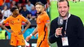 Los jugadores de Países Bajos y Van der Vaart, en un fotomontaje
