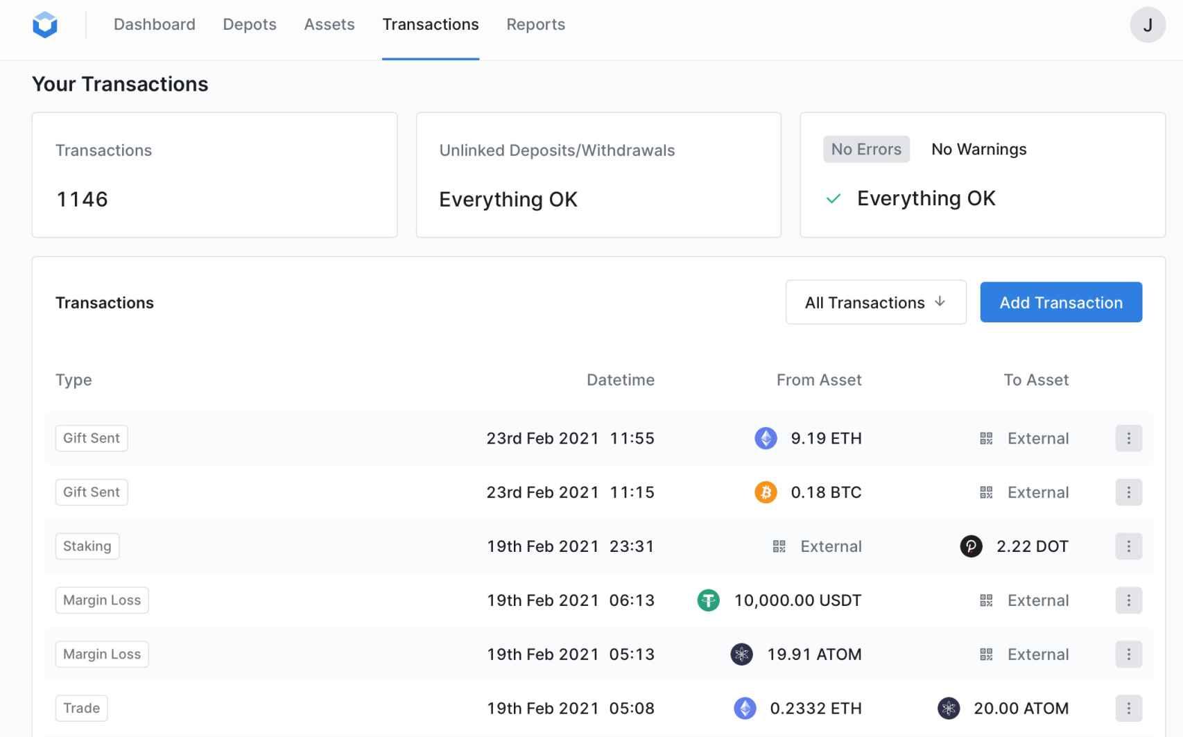 Un pantallazo de la aplicación de Blockpit.