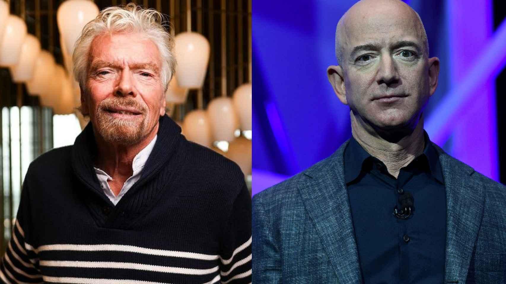 Richard Branson y Jeff Bezos, fundadores de Virgin Galactic y Blue Origin, respectivamente.