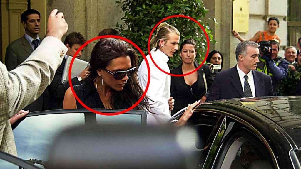 Victoria y David Beckham junto a Rebecca Loos en las calles de Madrid, en 2003.