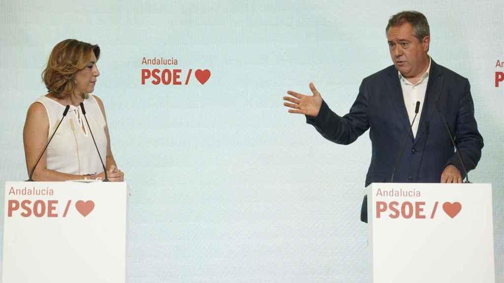 La secretaria general del PSOE andaluz, Susana Díaz, y el candidato electo a la Junta, Juan Espadas.