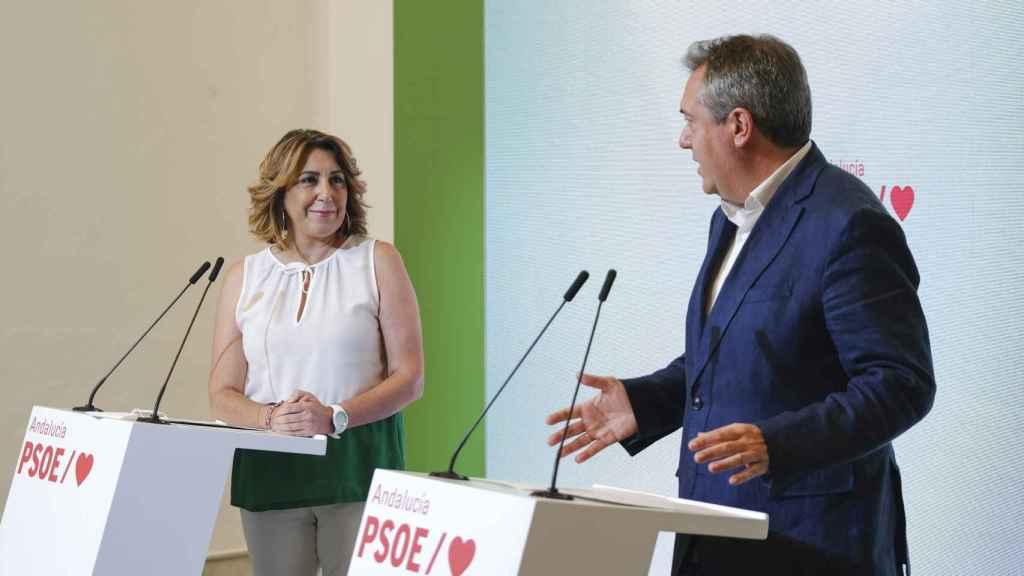 La secretaria general del PSOE-A, Susana Díaz, y el vencedor de las primarias, Juan Espadas.