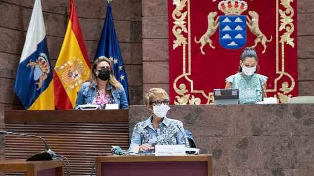 La consejera de Economía, Conocimiento y Empleo, Elena Máñez, durante su comparecencia.
