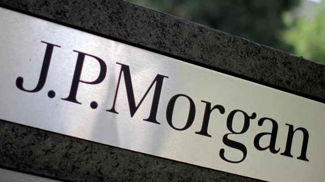 FILE PHOTO: FILE PHOTO: The logo of Dow Jones Industrial Average stock market index listed company JPMorgan Chase (JPM) is seen in Los Angeles