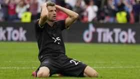 Thomas Müller se lamenta de una ocasión fallada en el Inglaterra - Alemania de la Eurocopa 2020