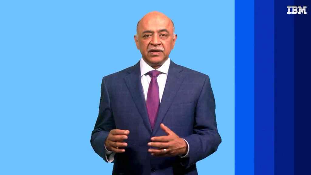 Arvind Krishna, CEO de IBM, durante su intervención online en el MWC 2021.