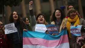 Manifestación trans y a favor de una ley de identidades estatales.