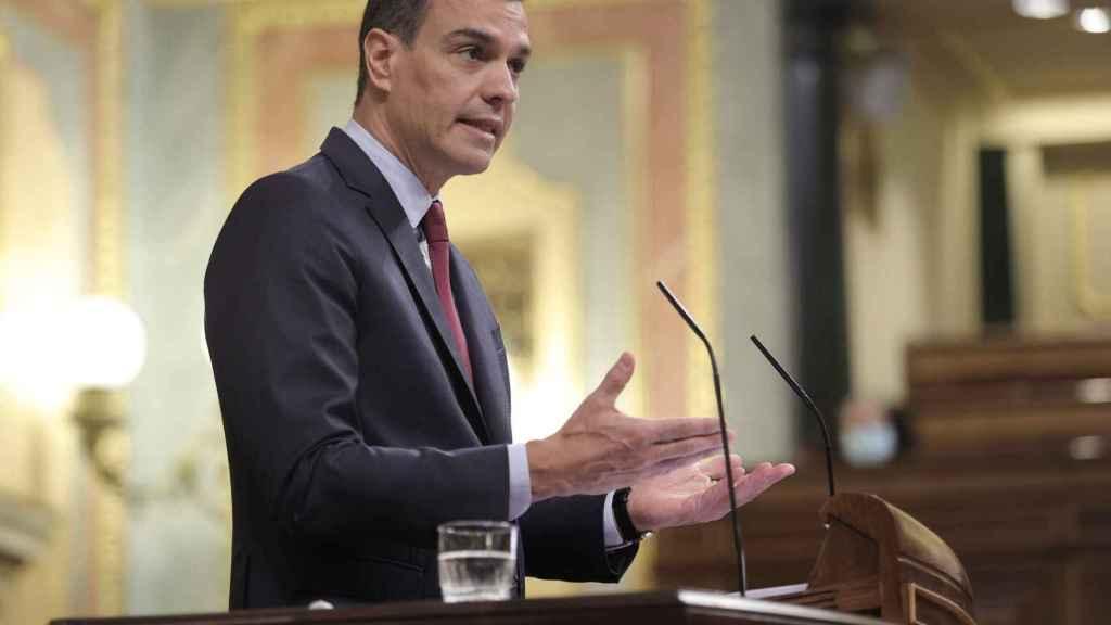 El presidente del Gobierno, Pedro Sánchez, durante la sesión de control al Gobierno en el Congreso de los Diputados.