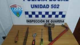 Herramientas confiscadas por la Policía Local de Consuegra.